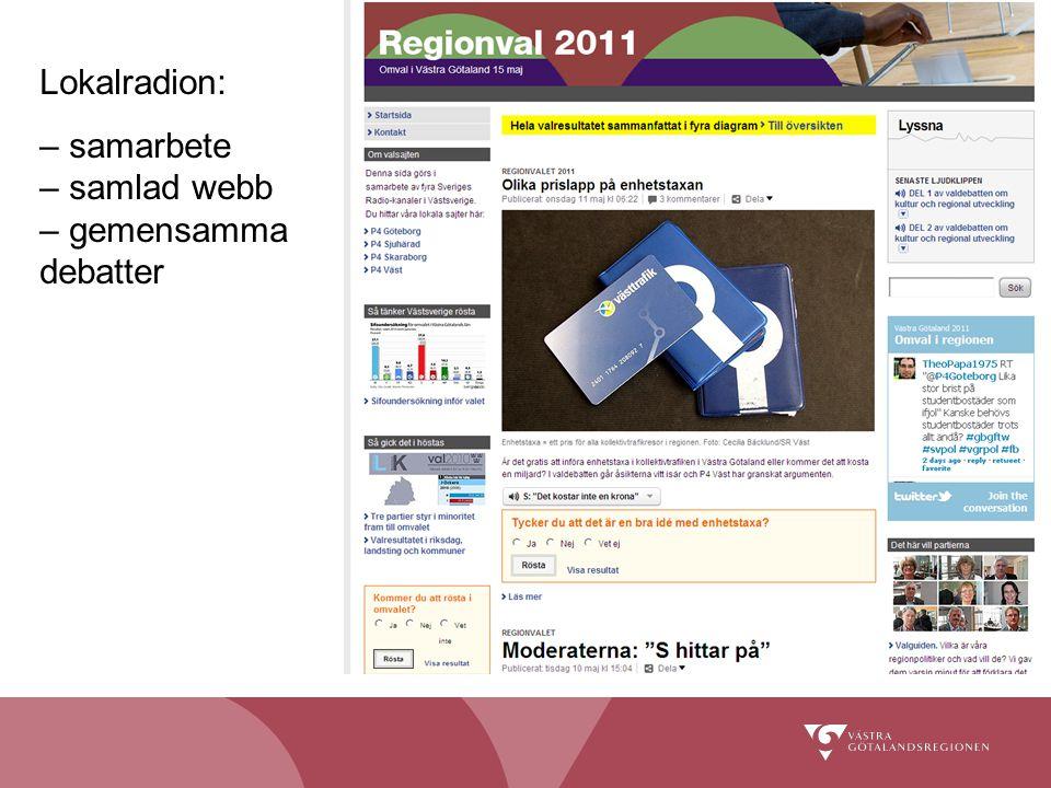 Lokalradion: – samarbete – samlad webb – gemensamma debatter