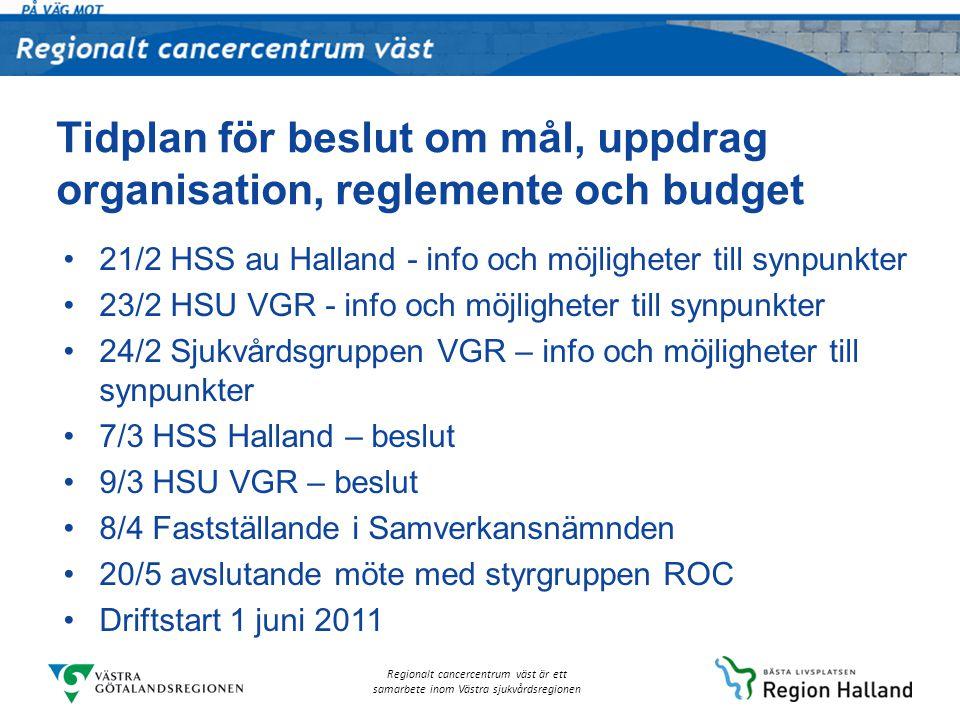 Regionalt cancercentrum väst är ett samarbete inom Västra sjukvårdsregionen Tidplan för beslut om mål, uppdrag organisation, reglemente och budget 21/