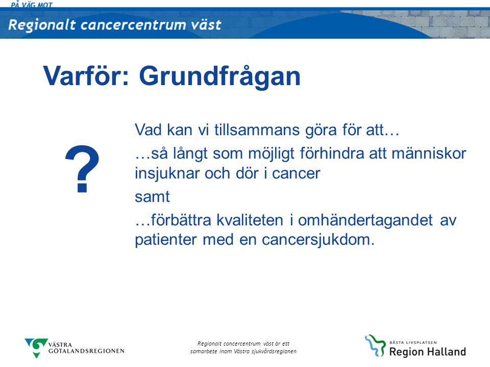 Regionalt cancercentrum väst är ett samarbete inom Västra sjukvårdsregionen Varför: Grundfrågan Vad kan vi tillsammans göra för att… …så långt som möj