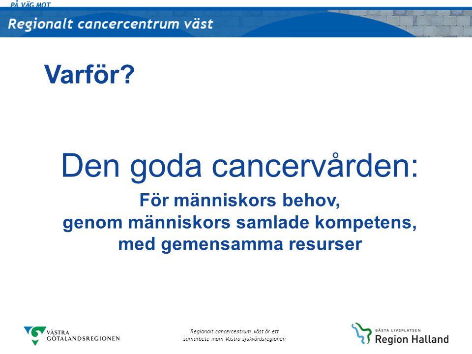 Regionalt cancercentrum väst är ett samarbete inom Västra sjukvårdsregionen Varför? Den goda cancervården: För människors behov, genom människors saml
