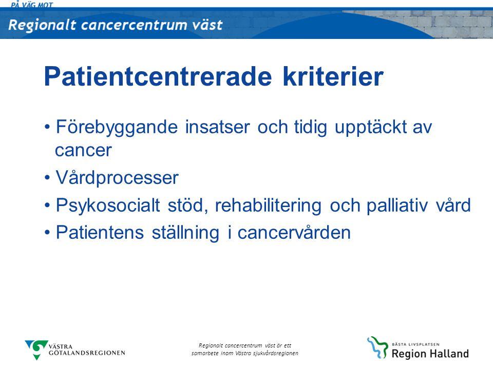 Regionalt cancercentrum väst är ett samarbete inom Västra sjukvårdsregionen Patientcentrerade kriterier Förebyggande insatser och tidig upptäckt av ca