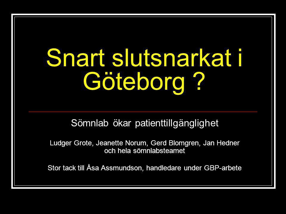 Snart slutsnarkat i Göteborg ? Sömnlab ökar patienttillgänglighet Ludger Grote, Jeanette Norum, Gerd Blomgren, Jan Hedner och hela sömnlabsteamet Stor