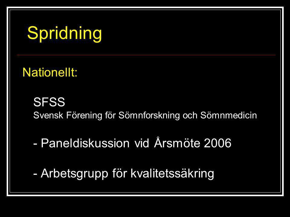 Spridning Nationellt: SFSS Svensk Förening för Sömnforskning och Sömnmedicin - Paneldiskussion vid Årsmöte 2006 - Arbetsgrupp för kvalitetssäkring