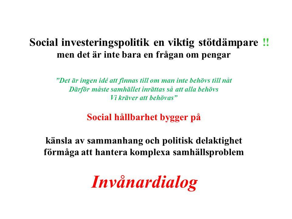 men det är inte bara en frågan om pengar Det är ingen idé att finnas till om man inte behövs till nåt Därför måste samhället inrättas så att alla behövs Vi kräver att behövas Social hållbarhet bygger på känsla av sammanhang och politisk delaktighet förmåga att hantera komplexa samhällsproblem Social investeringspolitik en viktig stötdämpare !.