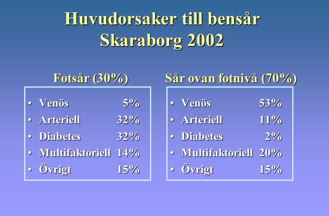 Huvudorsaker till bensår Skaraborg 2002 Venös 5%Venös 5% Arteriell32%Arteriell32% Diabetes 32%Diabetes 32% Multifaktoriell14%Multifaktoriell14% Övrigt