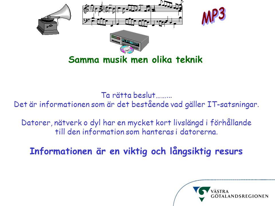 Informationsstruktur Samma musik men olika teknik Ta rätta beslut……... Det är informationen som är det bestående vad gäller IT-satsningar. Datorer, nä