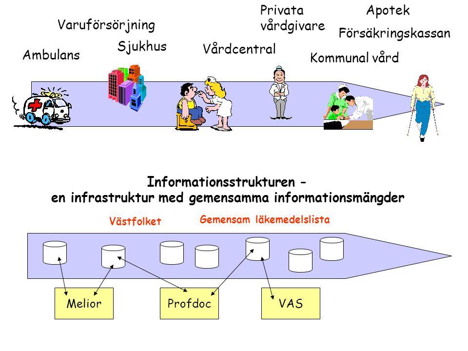 Vårdcentral Apotek Ambulans Sjukhus Försäkringskassan Kommunal vård Varuförsörjning Privata vårdgivare MeliorProfdocVAS Informationsstrukturen - en in