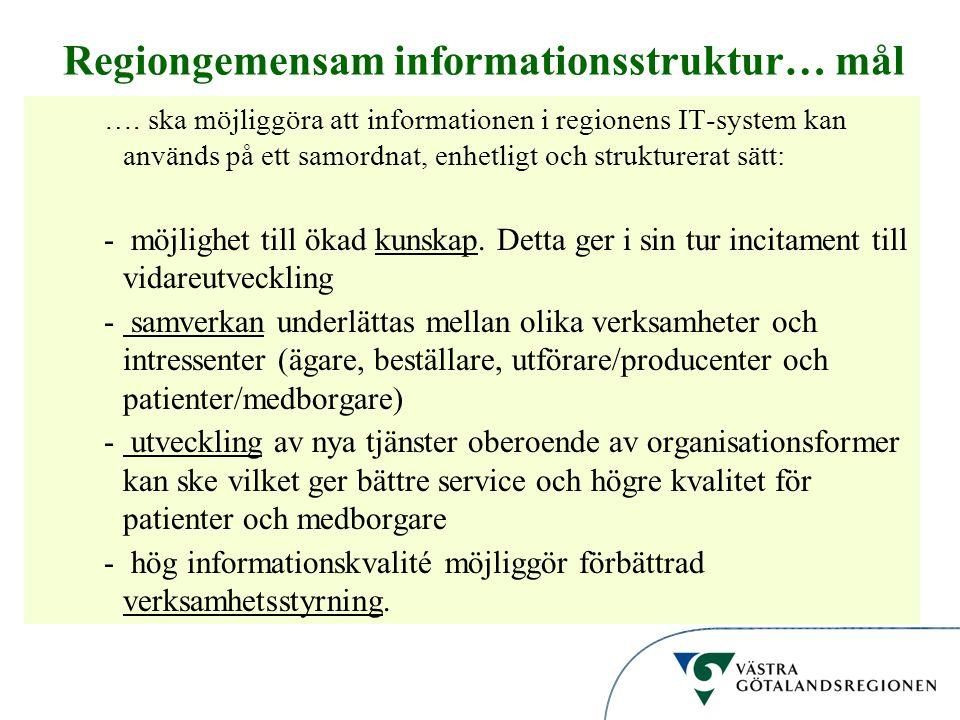 Informationsstruktur Regiongemensam informationsstruktur… mål …. ska möjliggöra att informationen i regionens IT-system kan används på ett samordnat,