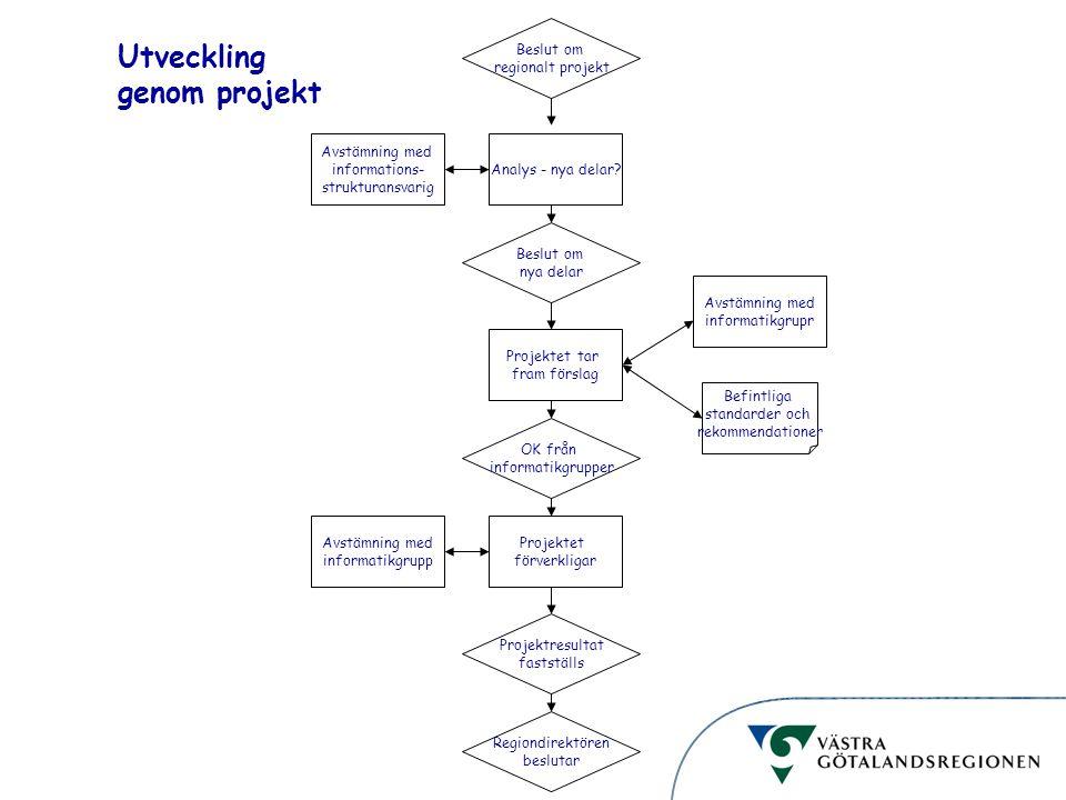 Informationsstruktur Utveckling genom projekt Beslut om regionalt projekt Analys - nya delar? Beslut om nya delar Projektet tar fram förslag OK från i
