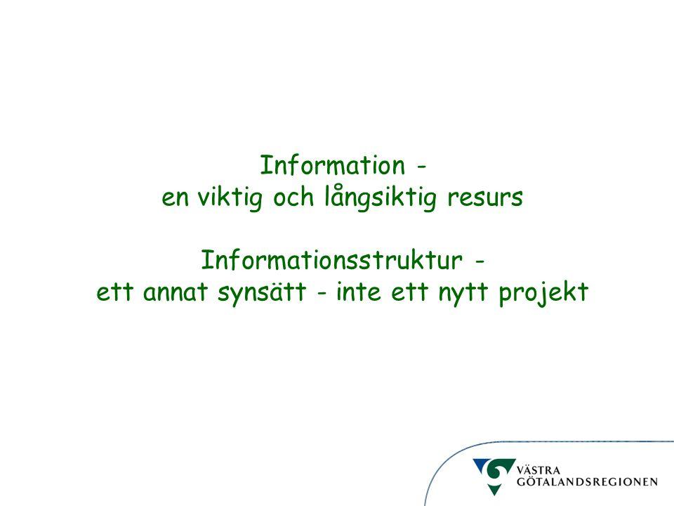 Informationsstruktur Information - en viktig och långsiktig resurs Informationsstruktur - ett annat synsätt - inte ett nytt projekt