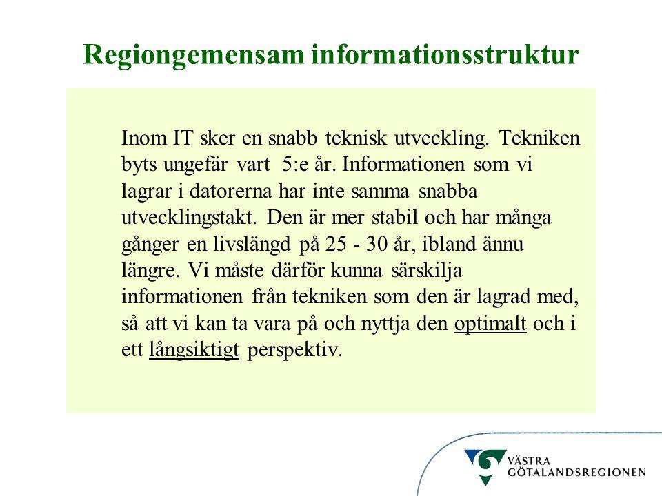 Informationsstruktur Regiongemensam informationsstruktur Inom IT sker en snabb teknisk utveckling. Tekniken byts ungefär vart 5:e år. Informationen so