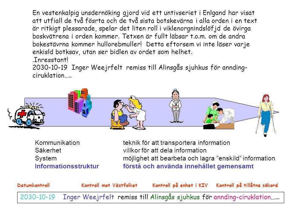 """Kommunikation teknik för att transportera information Säkerhet villkor för att dela information Systemmöjlighet att bearbeta och lagra """"enskild"""" infor"""