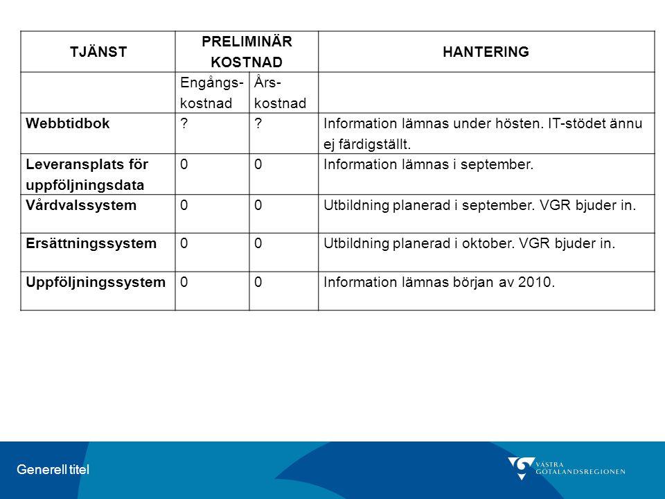 Generell titel TJÄNST PRELIMINÄR KOSTNAD HANTERING Engångs- kostnad Års- kostnad Webbtidbok?? Information lämnas under hösten. IT-stödet ännu ej färdi