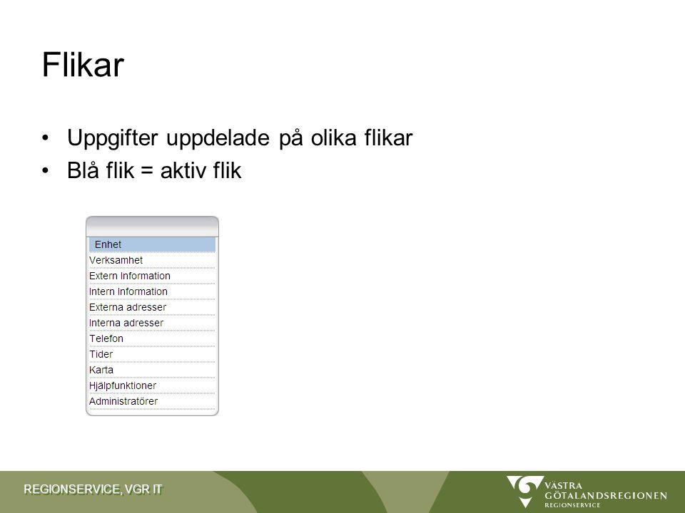REGIONSERVICE, VGR IT Flikar Uppgifter uppdelade på olika flikar Blå flik = aktiv flik