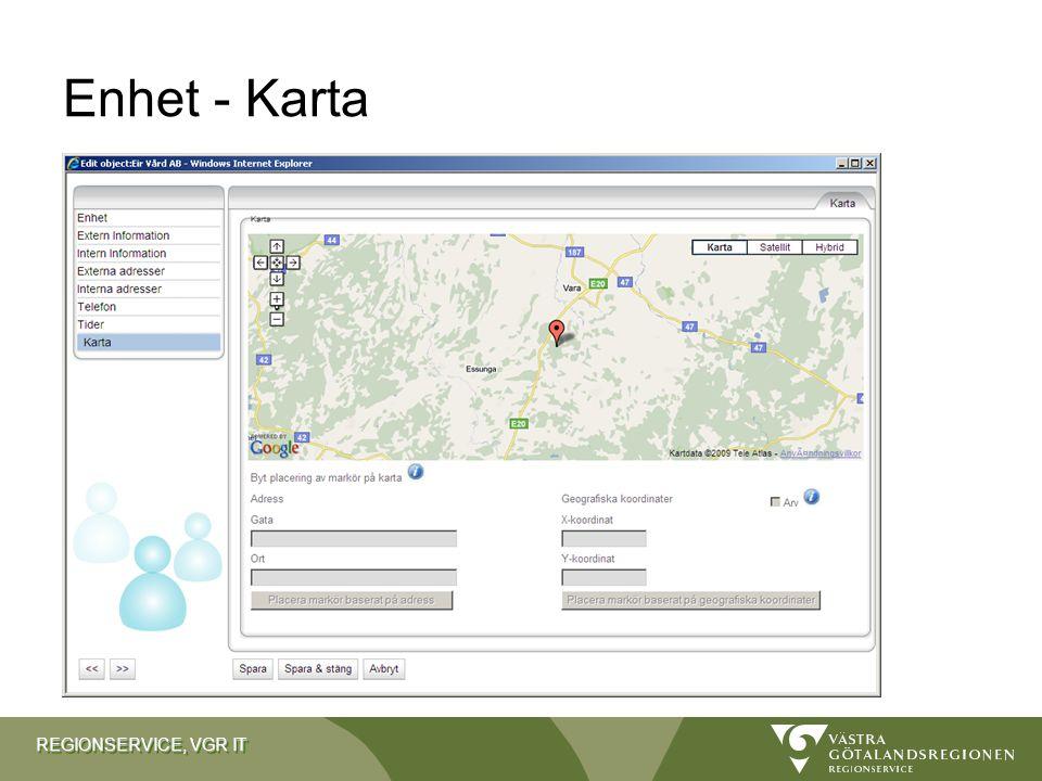 REGIONSERVICE, VGR IT Enhet - Karta