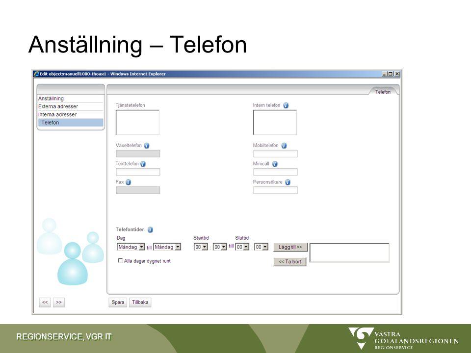 REGIONSERVICE, VGR IT Anställning – Telefon