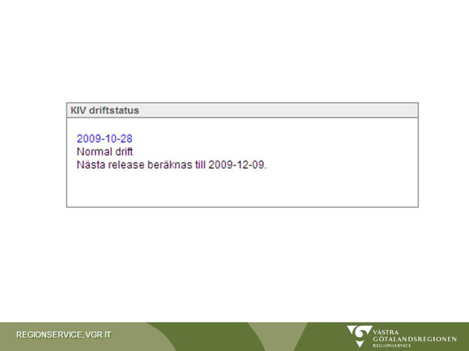 REGIONSERVICE, VGR IT VGR-id Alla personer i KIV har ett unikt id: VGR-id Skapas av bokstäver ur tilltalsnamn och efternamn, samt löpnummer Använder uppgifterna från Västfolket Exempel: hanjo26 –Hanna (han) –Jonsson (jo) –Löpnummer (26) Kan aldrig återanvändas.