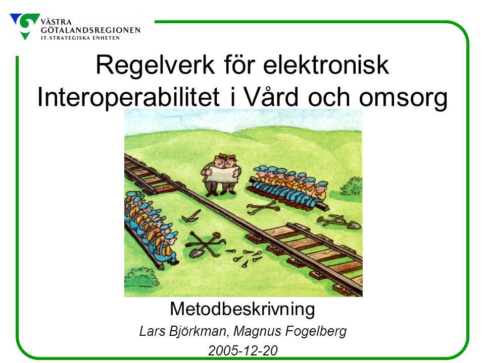 Regelverk för elektronisk Interoperabilitet i Vård och omsorg Metodbeskrivning Lars Björkman, Magnus Fogelberg 2005-12-20