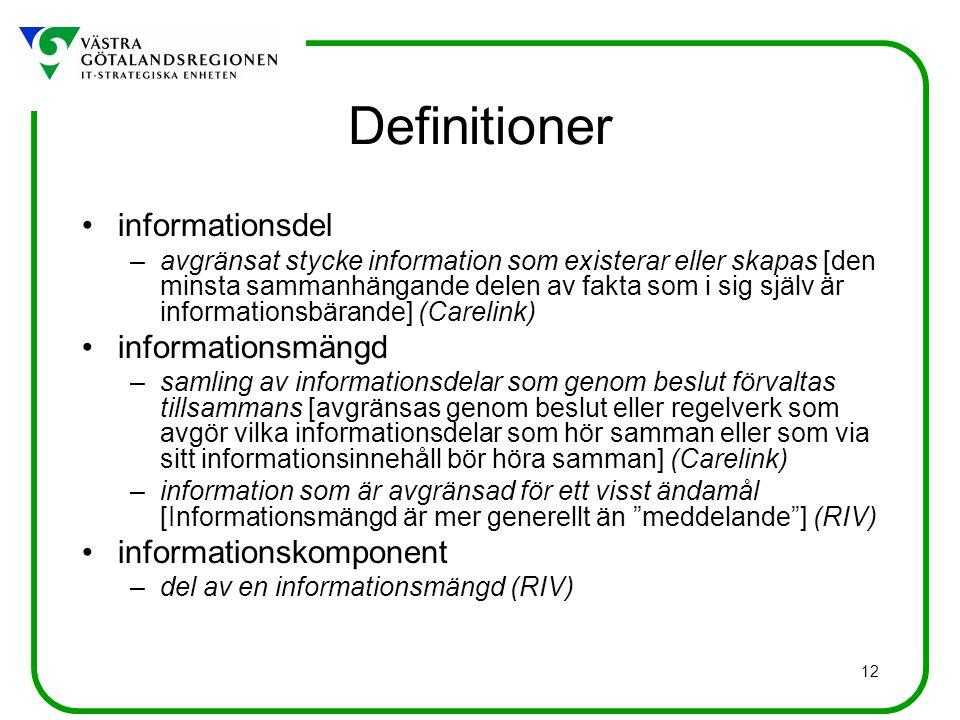 12 Definitioner informationsdel –avgränsat stycke information som existerar eller skapas [den minsta sammanhängande delen av fakta som i sig själv är informationsbärande] (Carelink) informationsmängd –samling av informationsdelar som genom beslut förvaltas tillsammans [avgränsas genom beslut eller regelverk som avgör vilka informationsdelar som hör samman eller som via sitt informationsinnehåll bör höra samman] (Carelink) –information som är avgränsad för ett visst ändamål [Informationsmängd är mer generellt än meddelande ] (RIV) informationskomponent –del av en informationsmängd (RIV)
