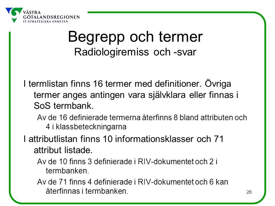 26 Begrepp och termer Radiologiremiss och -svar I termlistan finns 16 termer med definitioner. Övriga termer anges antingen vara självklara eller finn