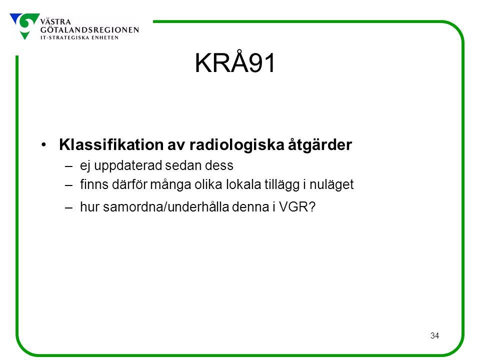 34 KRÅ91 Klassifikation av radiologiska åtgärder –ej uppdaterad sedan dess –finns därför många olika lokala tillägg i nuläget –hur samordna/underhålla denna i VGR?