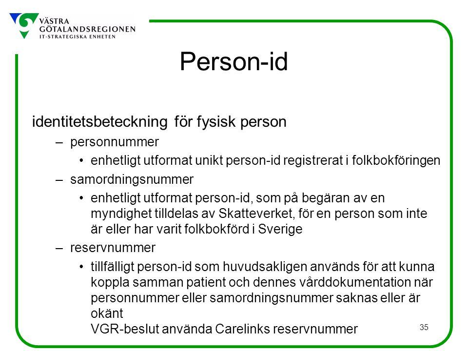 35 Person-id identitetsbeteckning för fysisk person –personnummer enhetligt utformat unikt person-id registrerat i folkbokföringen –samordningsnummer enhetligt utformat person-id, som på begäran av en myndighet tilldelas av Skatteverket, för en person som inte är eller har varit folkbokförd i Sverige –reservnummer tillfälligt person-id som huvudsakligen används för att kunna koppla samman patient och dennes vårddokumentation när personnummer eller samordningsnummer saknas eller är okänt VGR-beslut använda Carelinks reservnummer