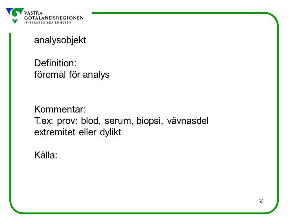 55 analysobjekt Definition: föremål för analys Kommentar: T.ex: prov: blod, serum, biopsi, vävnasdel extremitet eller dylikt Källa: