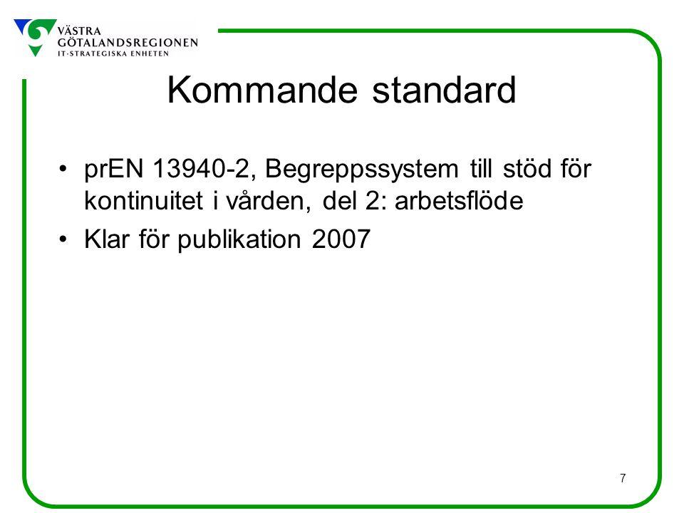 7 Kommande standard prEN 13940-2, Begreppssystem till stöd för kontinuitet i vården, del 2: arbetsflöde Klar för publikation 2007