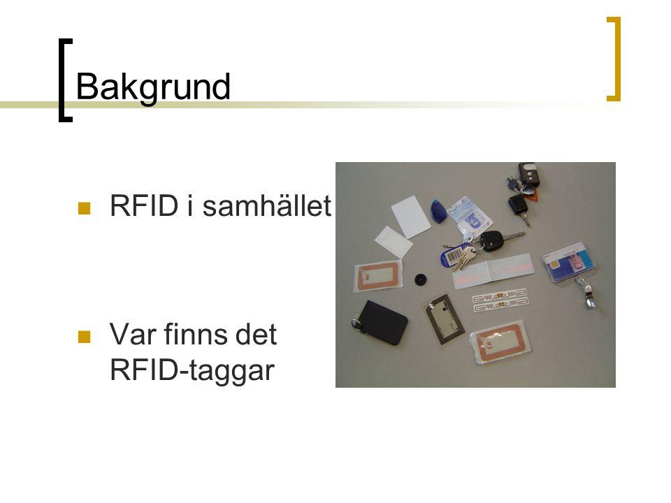 Bakgrund RFID i samhället Var finns det RFID-taggar