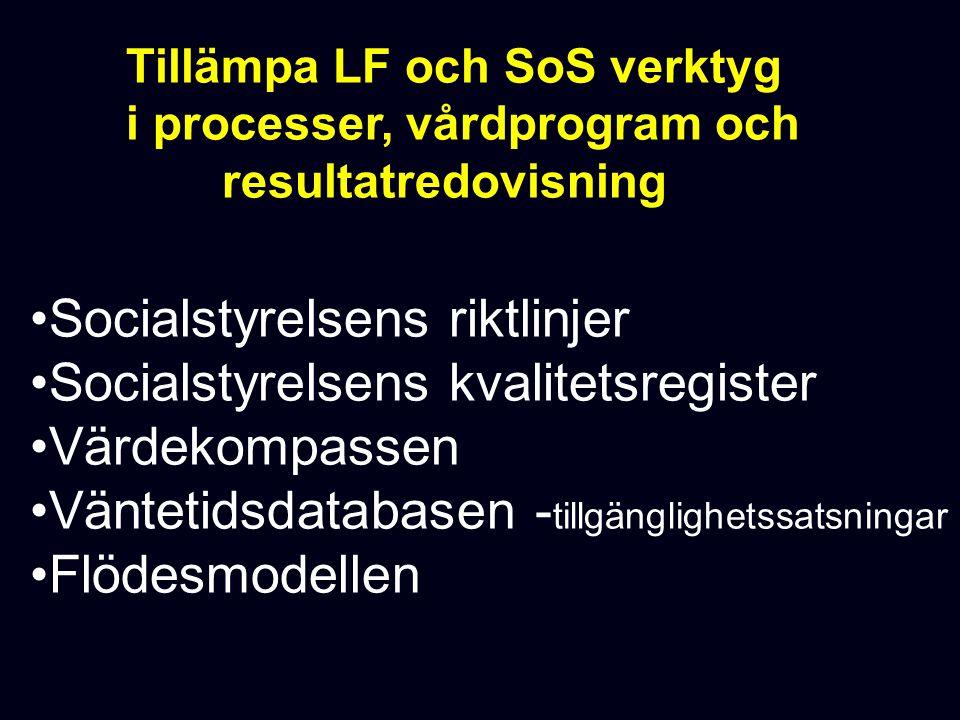 Tillämpa LF och SoS verktyg i processer, vårdprogram och resultatredovisning Socialstyrelsens riktlinjer Socialstyrelsens kvalitetsregister Värdekompassen Väntetidsdatabasen - tillgänglighetssatsningar Flödesmodellen