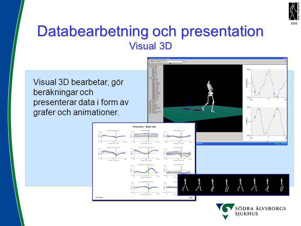 Databearbetning och presentation Visual 3D 2006 Visual 3D bearbetar, gör beräkningar och presenterar data i form av grafer och animationer.