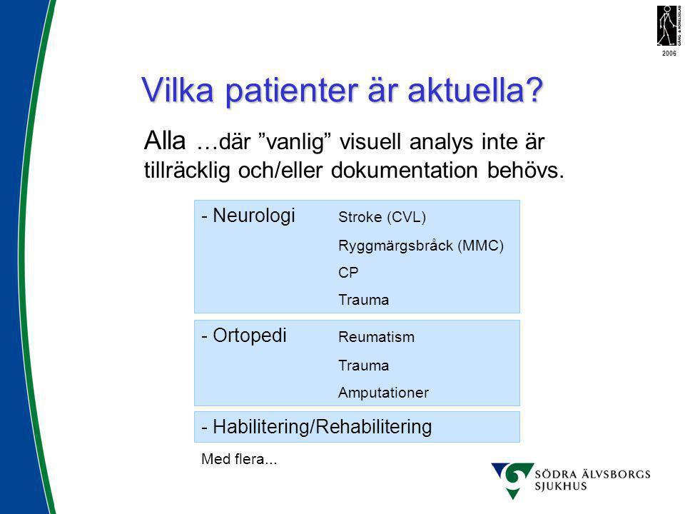"""Vilka patienter är aktuella? Alla …där """"vanlig"""" visuell analys inte är tillräcklig och/eller dokumentation behövs. - Neurologi Stroke (CVL) Ryggmärgsb"""