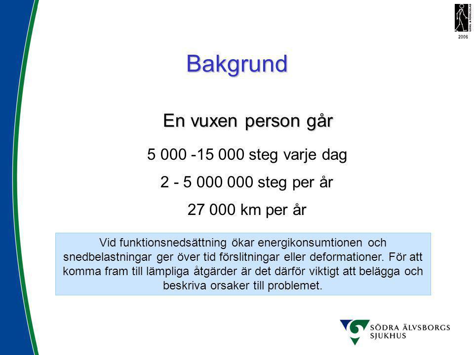 En vuxen person går 5 000 -15 000 steg varje dag 2 - 5 000 000 steg per år 27 000 km per år Bakgrund Vid funktionsnedsättning ökar energikonsumtionen