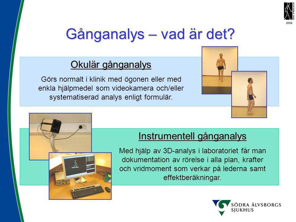 Gånganalys – vad är det? 2006 Okulär gånganalys Görs normalt i klinik med ögonen eller med enkla hjälpmedel som videokamera och/eller systematiserad a