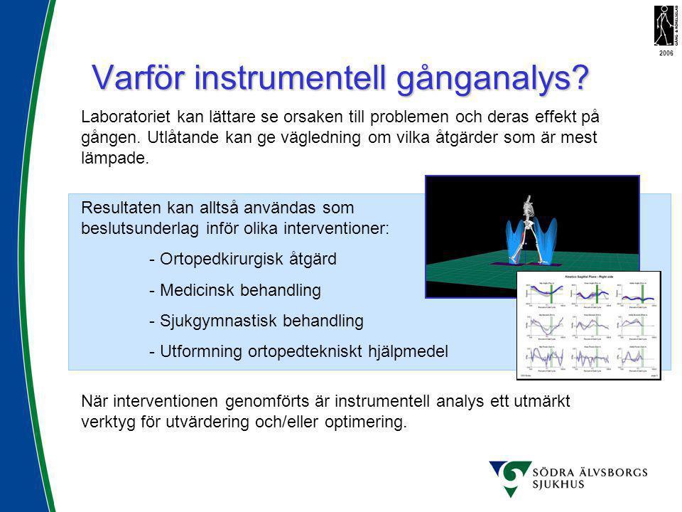 Varför instrumentell gånganalys? När interventionen genomförts är instrumentell analys ett utmärkt verktyg för utvärdering och/eller optimering. 2006