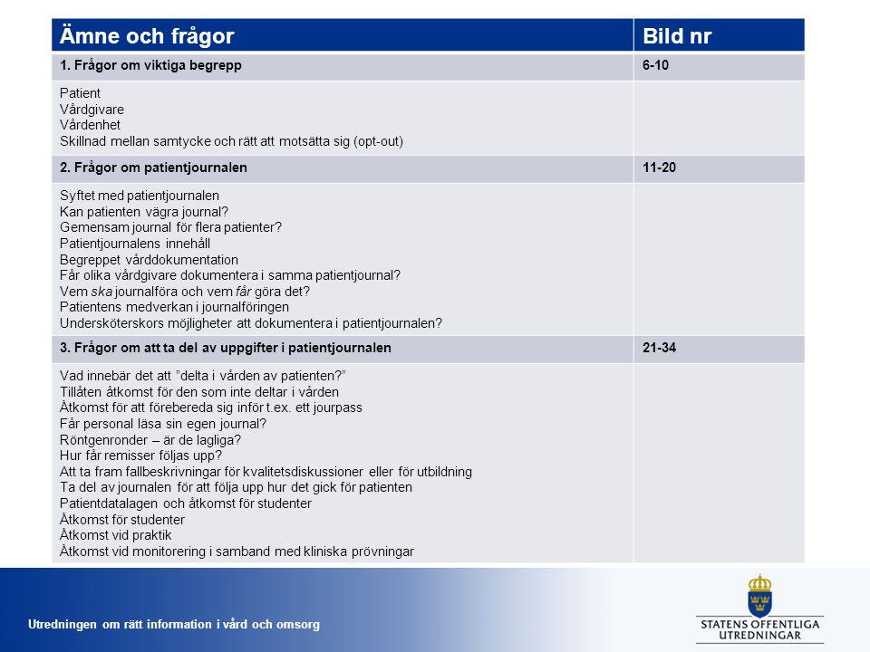 Utredningen om rätt information i vård och omsorg Ämne och frågorBild nr 4.