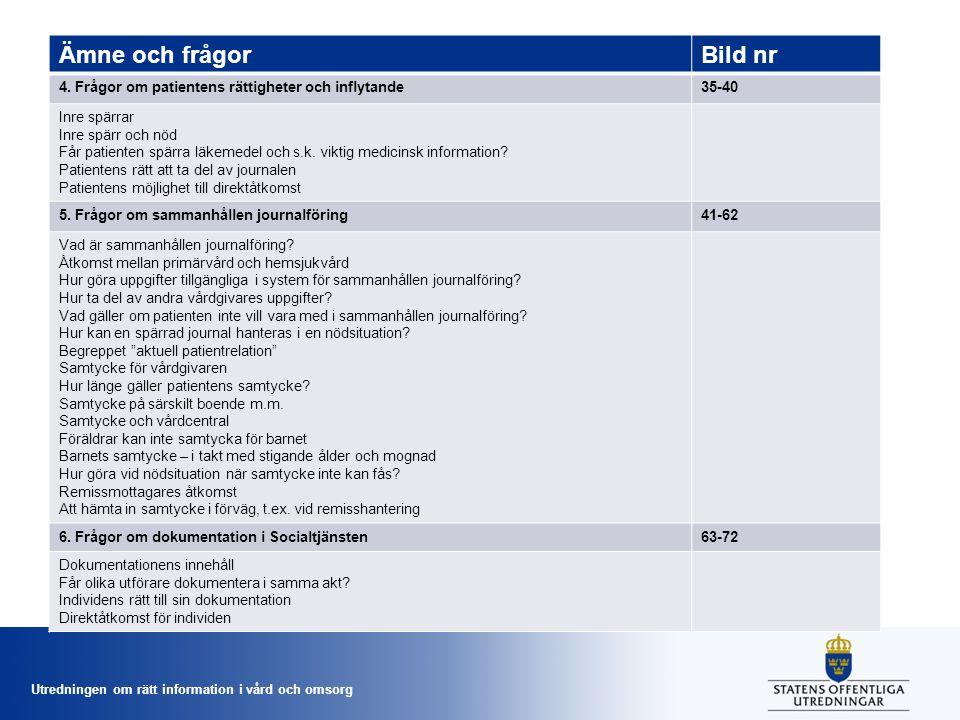 Utredningen om rätt information i vård och omsorg Ämne och frågorBild nr 6.