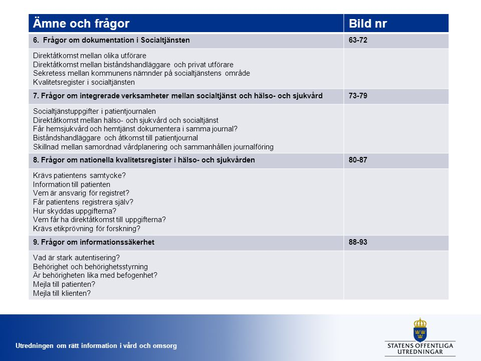 Utredningen om rätt information i vård och omsorg Vad menas med vårddokumentation.