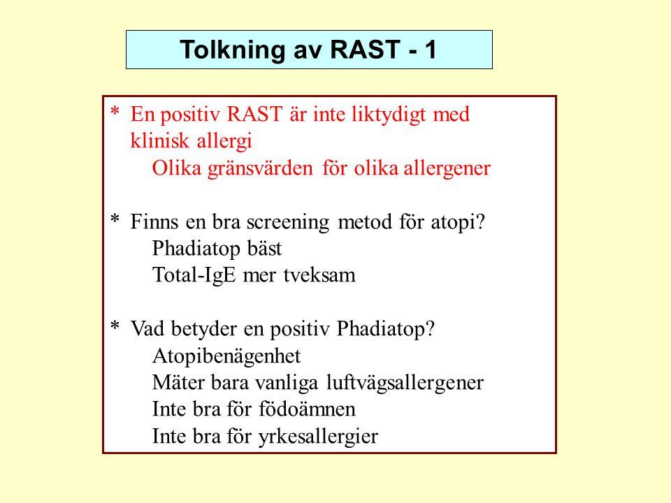 Tolkning av RAST - 1 *En positiv RAST är inte liktydigt med klinisk allergi Olika gränsvärden för olika allergener *Finns en bra screening metod för a