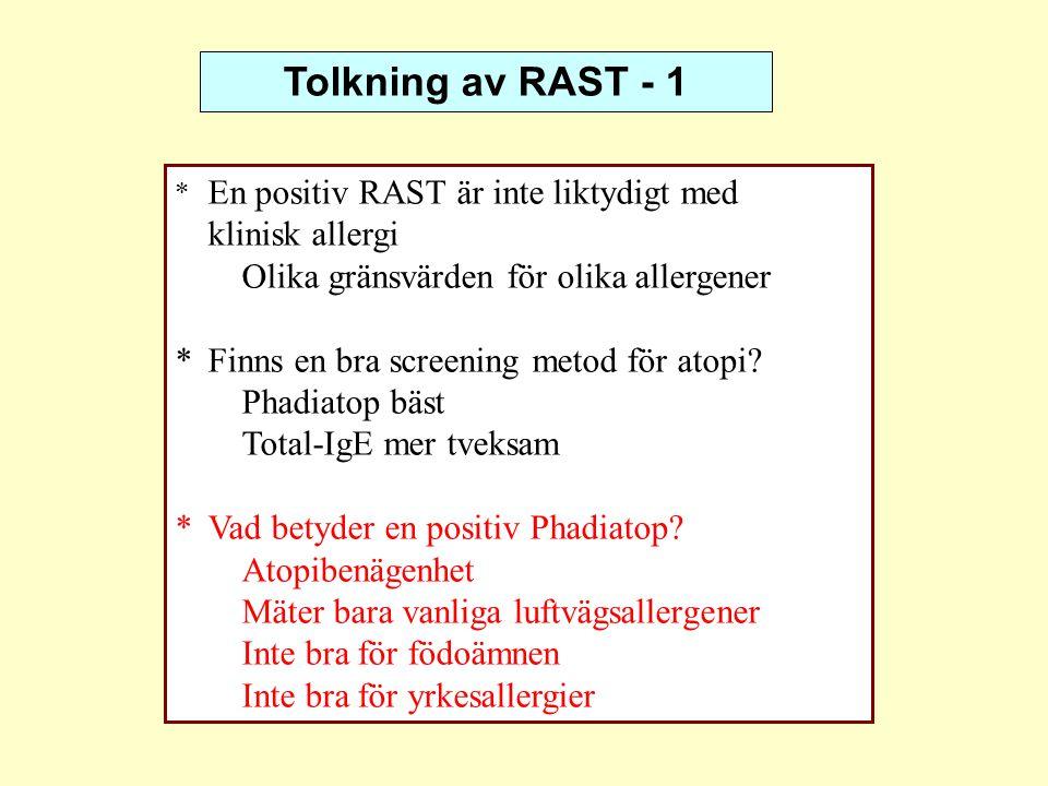 Tolkning av RAST - 1 * En positiv RAST är inte liktydigt med klinisk allergi Olika gränsvärden för olika allergener *Finns en bra screening metod för
