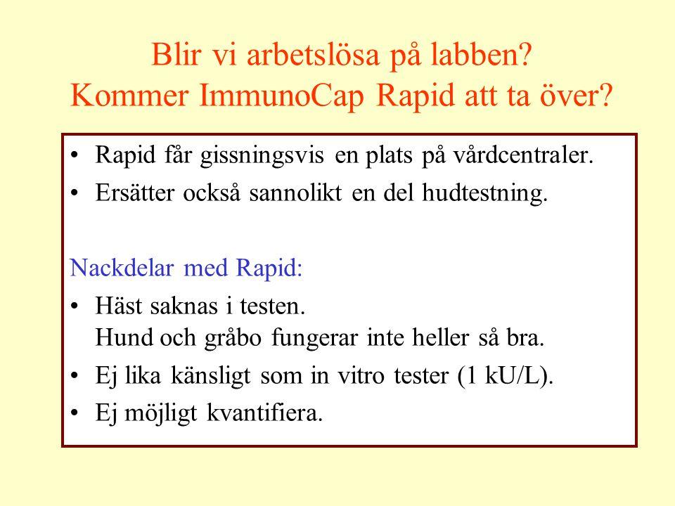 Blir vi arbetslösa på labben? Kommer ImmunoCap Rapid att ta över? Rapid får gissningsvis en plats på vårdcentraler. Ersätter också sannolikt en del hu