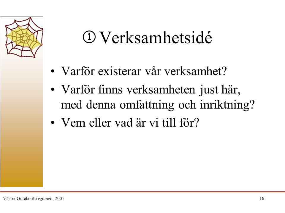 Västra Götalandsregionen, 200516 Verksamhetsidé Varför existerar vår verksamhet? Varför finns verksamheten just här, med denna omfattning och inriktni