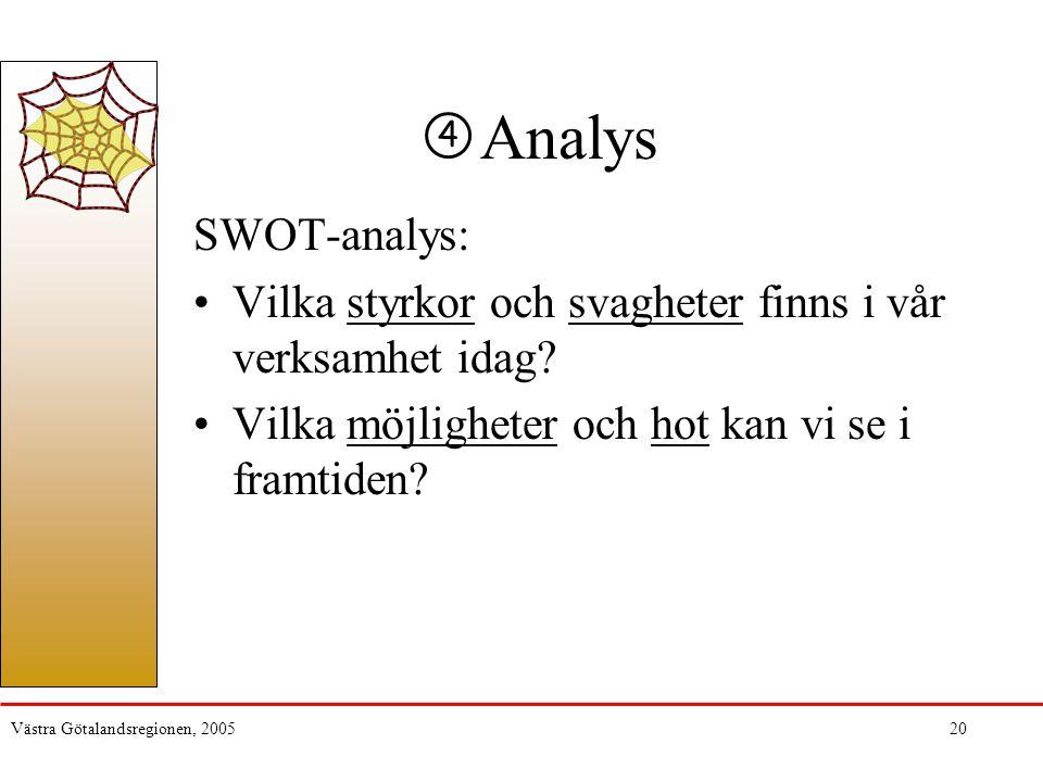 Västra Götalandsregionen, 200520 Analys SWOT-analys: Vilka styrkor och svagheter finns i vår verksamhet idag? Vilka möjligheter och hot kan vi se i fr
