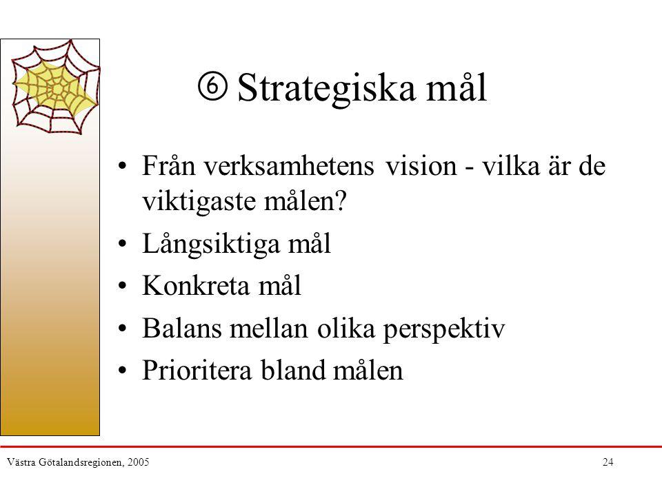 Västra Götalandsregionen, 200524 Strategiska mål Från verksamhetens vision - vilka är de viktigaste målen? Långsiktiga mål Konkreta mål Balans mellan