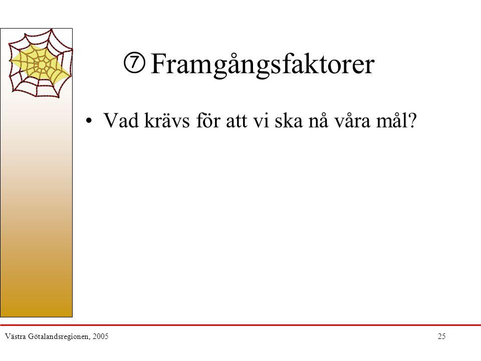 Västra Götalandsregionen, 200525 Framgångsfaktorer Vad krävs för att vi ska nå våra mål? 7