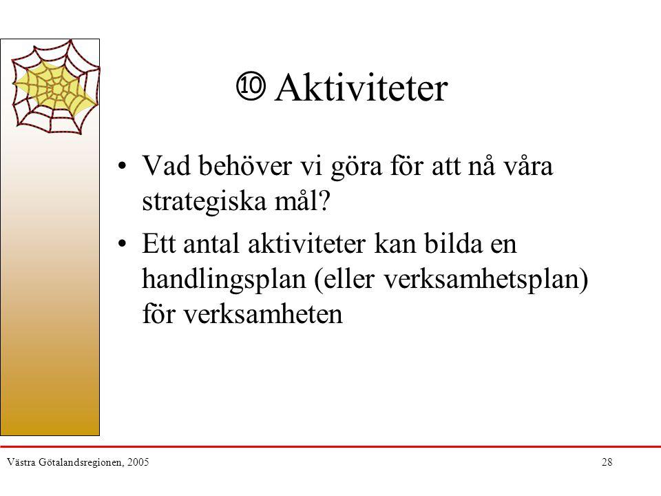 Västra Götalandsregionen, 200528 Aktiviteter Vad behöver vi göra för att nå våra strategiska mål? Ett antal aktiviteter kan bilda en handlingsplan (el