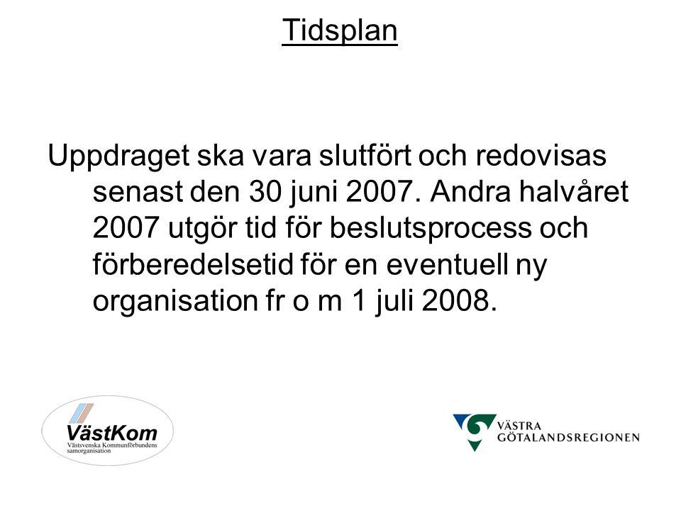Tidsplan Uppdraget ska vara slutfört och redovisas senast den 30 juni 2007.