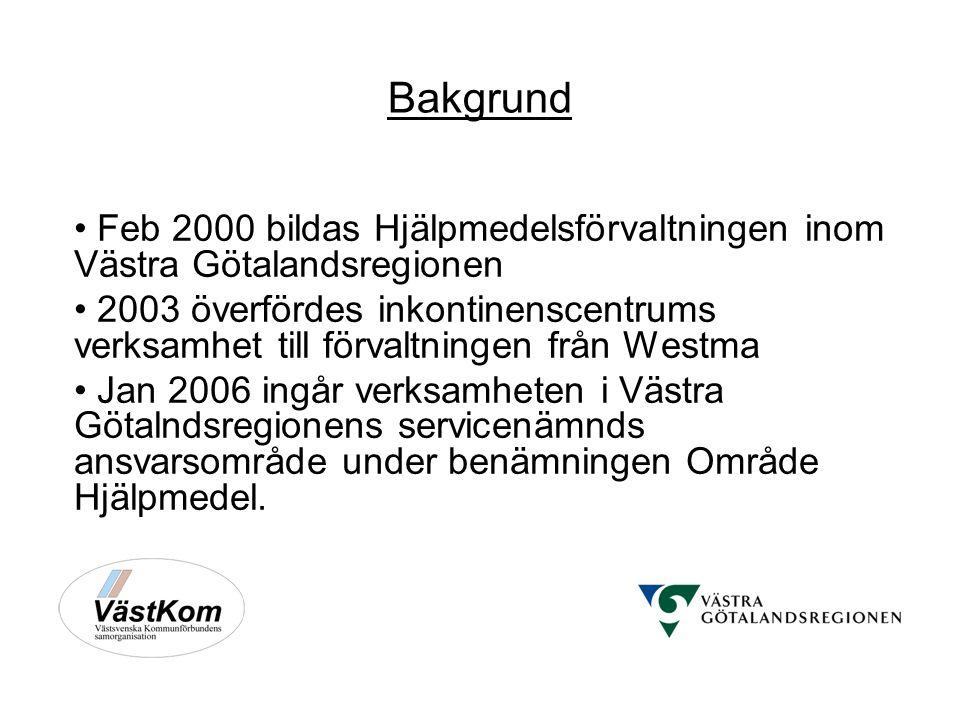 Bakgrund Feb 2000 bildas Hjälpmedelsförvaltningen inom Västra Götalandsregionen 2003 överfördes inkontinenscentrums verksamhet till förvaltningen från Westma Jan 2006 ingår verksamheten i Västra Götalndsregionens servicenämnds ansvarsområde under benämningen Område Hjälpmedel.