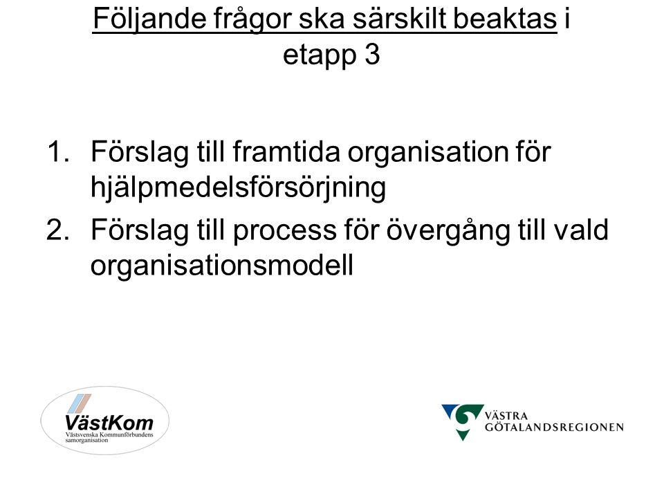 Följande frågor ska särskilt beaktas i etapp 3 1.Förslag till framtida organisation för hjälpmedelsförsörjning 2.Förslag till process för övergång till vald organisationsmodell