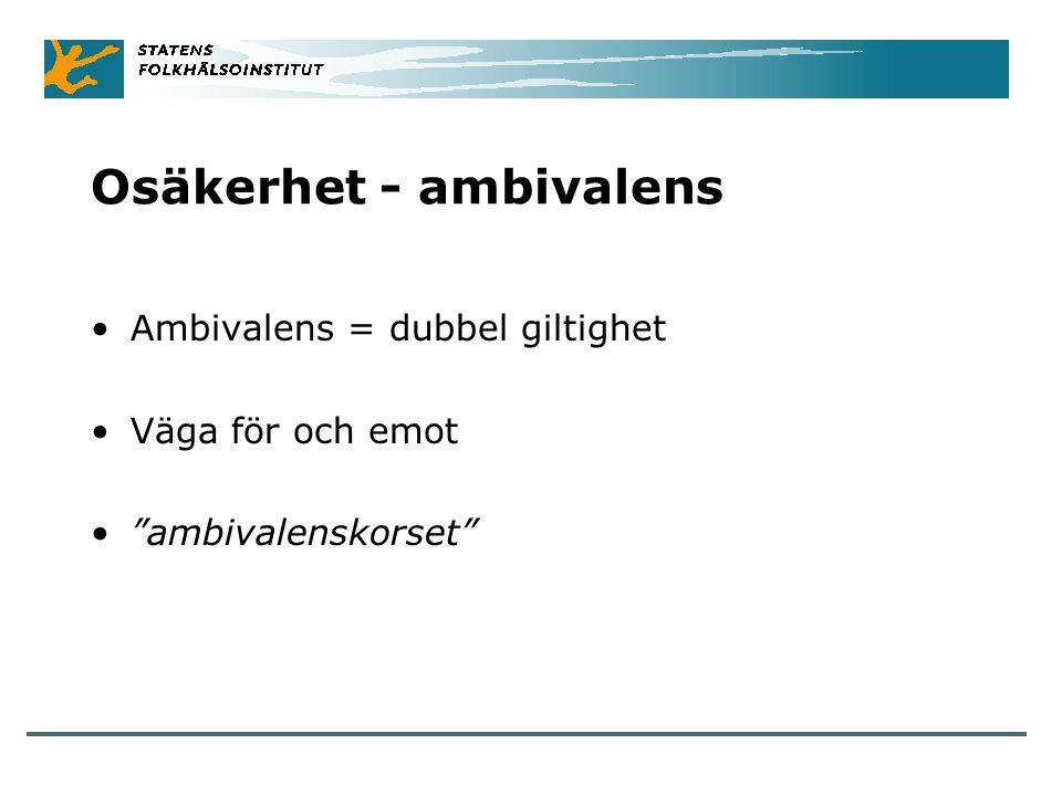 """Osäkerhet - ambivalens Ambivalens = dubbel giltighet Väga för och emot """"ambivalenskorset"""""""